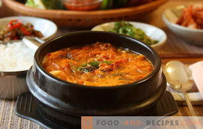 Spicy soup is a warming dish with peppercorn. Recipes spicy soups with chicken, lentils, tomato, meatballs, shrimp