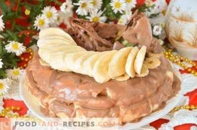 Tort de burete cu fructe și ciocolată într-un aragaz lent