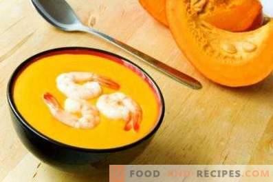 Puree de dovleac și supa de creveți