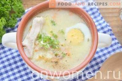 Supă cu mei și ou în bulion de pui