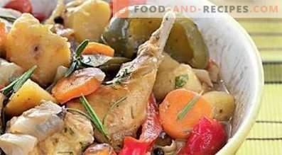Зајакот задушен со зеленчук во бавен шпорет