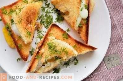 Sandvișuri cu un ou într-o tigaie